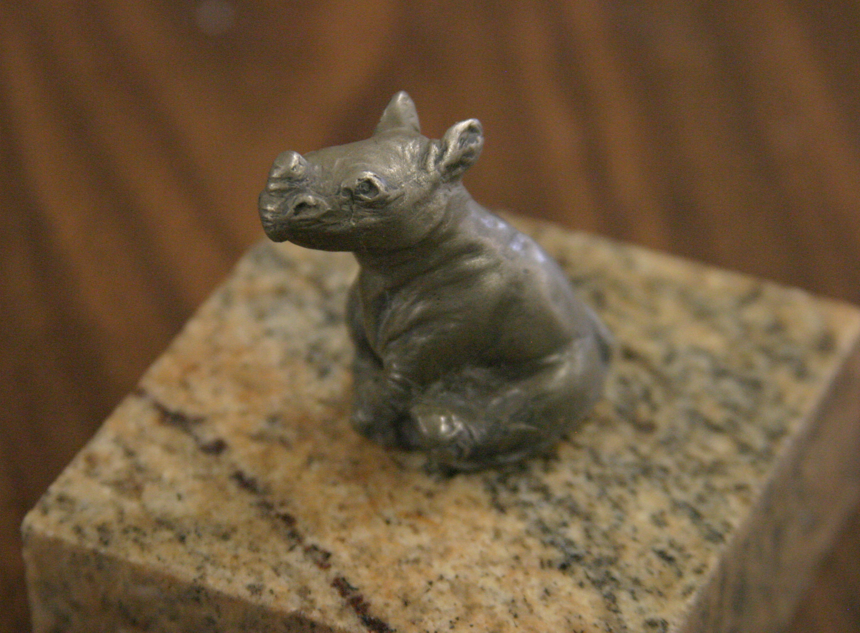 """Toto"" Baby Rhino Mini Sculpture cast by Larry K Martin"