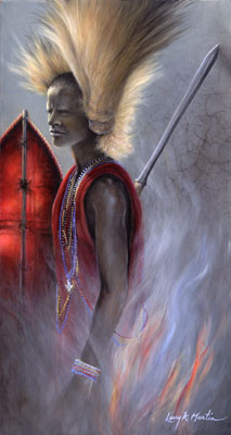"""Crown of Courage"" Maasai Warrior with Lion-Mane Headdress by American wildlife artist Larry K. Martin"