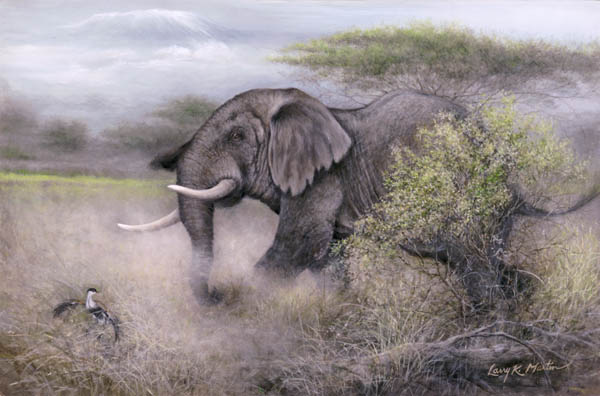 """He Sees Red"" African Bull Elephant by American wildlife artist Larry K. Martin"