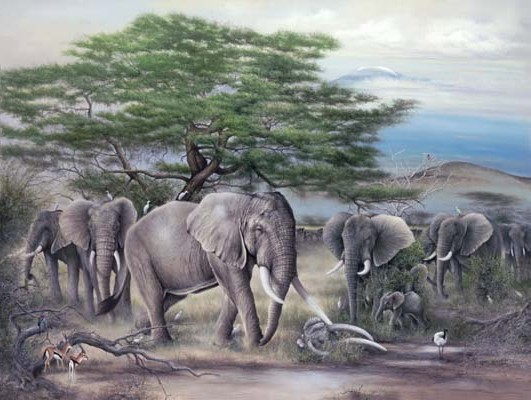 """Remembered"" African elephants at Kilimanjaro by American wildlife artist Larry K. Martin"