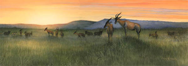 """Sentinels"" African topi by American wildlife artist Larry K. Martin"