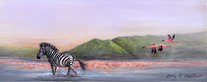 zebra and roseate spoonbills by American wildlife artist Larry K. Martin