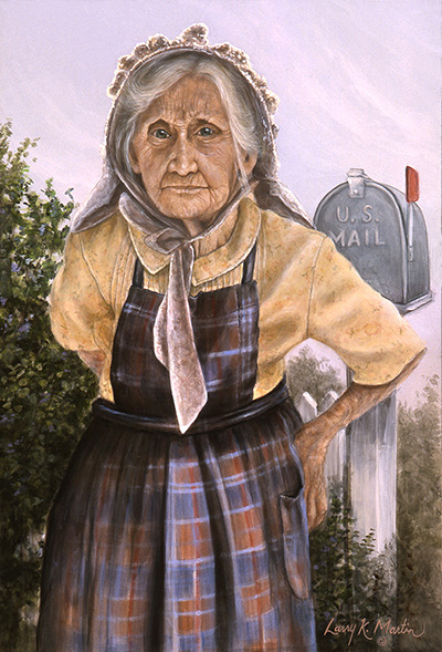 He's Running Late - Aunt Lizzie by artist Larry K. Martin