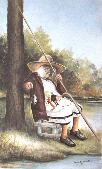"""That's a Good One"" Mrs. Bilbo by artist Larry K. Martin"