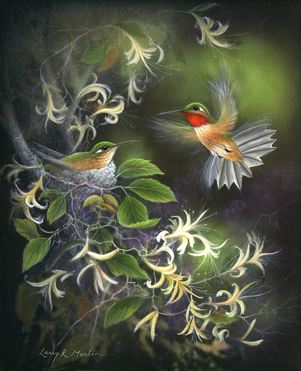 rufous hummingbird by artist Larry K Martin