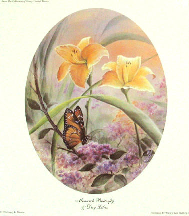 """Monarch and Day Lilies"" by American wildlife artist Larry K. Martin"