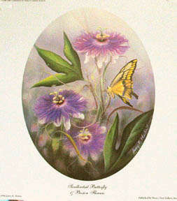 """Swallowtail and Passion Flowers"" by American wildlife artist Larry K. Martin"
