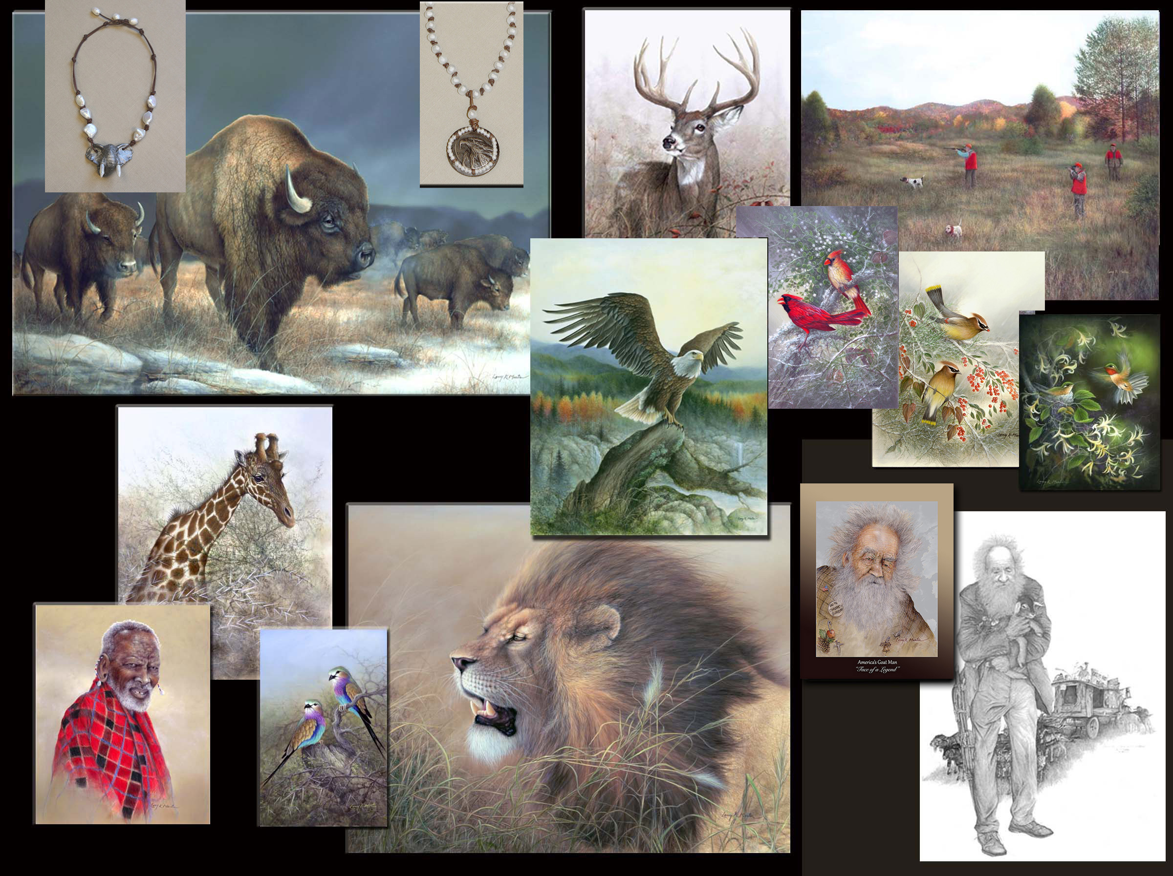 Larry K. Martin home page, eagles, deer, bison, songbirds,butterflies, african animals, goatman